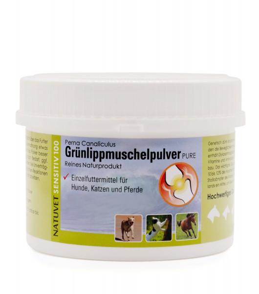 Grünlippmuschelpulver, 100g, für Hunde, Katzen und Pferde, kleine Probierdose